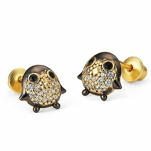 Other - 14k gold plated Penguin CZ Earrings