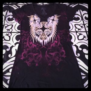 Sinful Tops - NWT Angels & Diamonds by Sinful Cross/Wing