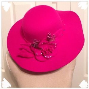 Chic Ruff Accessories - Chic Ruff, Fedora Pink Floppy Feathered Rim Hat
