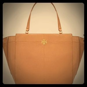 Tory burch ivy side zip tote handbag bark