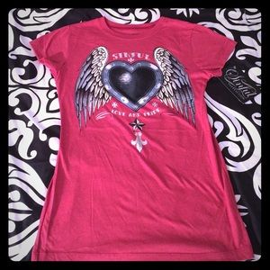 Sinful Tops - NWT Sexy Sinful Graphic Heart & Wings Tee 💕