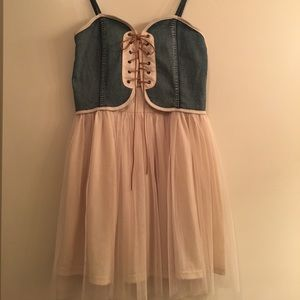 Mustard Seed Dresses & Skirts - Corset laceup denim and tulle dress