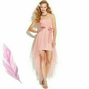 Teeze Me Dresses & Skirts - Teeze Me Strapless Pink Mesh High-Low Dress Size 5