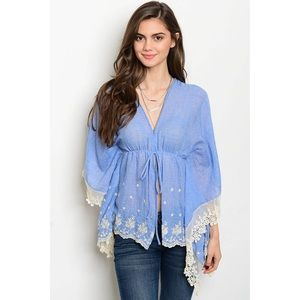 Tops - Chambray top with Cream Crochet Lace Details