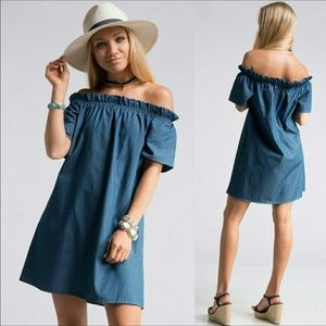 Fashionomics Dresses & Skirts - Off Shoulder Denim Dress *One Small Left!😍