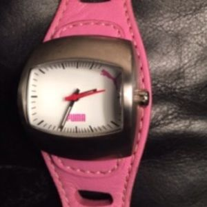 Puma Accessories - Puma Pink Leather Band Watch