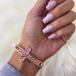 Tanya Kara Jewelry Jewelry - Pink Serenity Prayer Gold Cross Bracelet