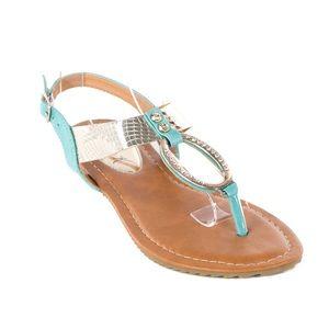 Victoria K Shoes - Women Seafoam Slingback Thong Flat Sandals S2010