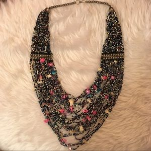 Authentic Original Vintage Style Jewelry - Vintage multi color beaded bib necklace w/stones