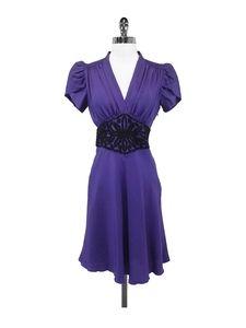 2b.RYCH Dresses & Skirts - 2b.RYCH - Purple Silk Dress w/ Embroidered Waist Sz 4