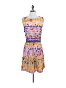 Ted Baker- Multi-Color Floral Print Tie Waist Dress Sz 12