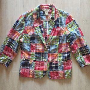 L.L. Bean Jackets & Blazers - L.L. Bean Madras Patchwork Blazer Size 8