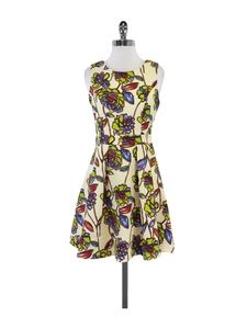 Stylish Stained Glass Floral Print Dress