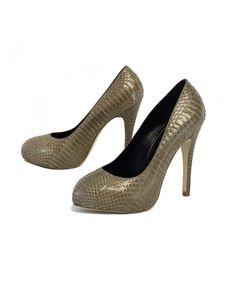 Kathryn Amberleigh Shoes - Kathryn Amberleigh - Gray Snakeskin Heels Sz 8