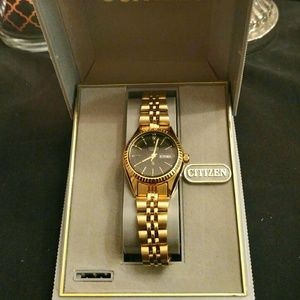 Citizen Accessories - WOMENS CITIZENS WATCH W/BLACK FACE GOLD BRACELET