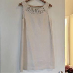 Lela Rose Dresses & Skirts - White Linen Embellished Neck Shift Dress