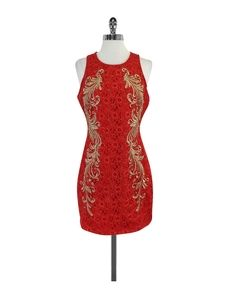 Truly Treasured Gold & Red Lace Dress