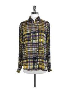 Suno Tops - Suno - Plaid Silk Button-Up Blouse Sz XS