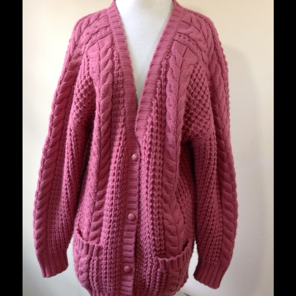 Vintage Sweaters - Vintage Pink Cable Slouchy Sweater Cardigan