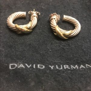 David Yurman Jewelry - David Yurman Cable X Hoop Earrings
