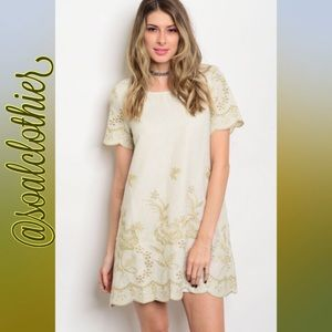 • cream shift dress w/ embroidered details •
