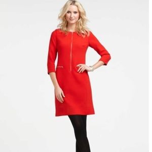 Ann Taylor Dresses & Skirts - ANN TAYLOR Zip front sheath red career dress