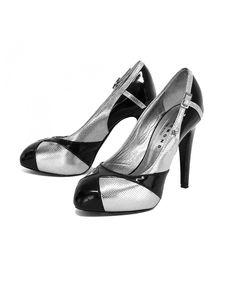 John Richmond Shoes - John Richmond- Metallic Silver & Black Patent Leather Pumps Sz 6.5