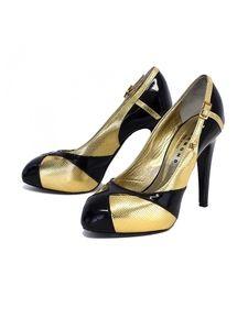 John Richmond Shoes - John Richmond- Metallic Gold & Black Patent Leather Pumps Sz 6.5