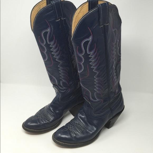 64cf2526fa8 Nocona Vintage Navy Blue Cowboy Boots 6 1/2B