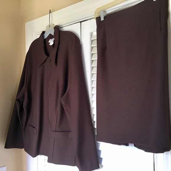 Dresses Brown Polyester Suit Set With Skirt Size 24w