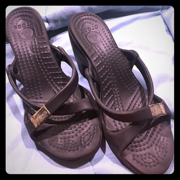 b366107f9b9b Used black crocs wedge sandals. M 58ef910c6d64bca567006831