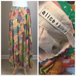 Geometric ALICE + OLIVIA Pleated Maxi skirt