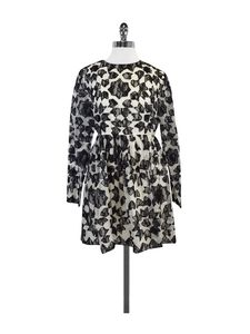 Manoush- Long Sleeve Black & White Lace Print Dress Sz 10