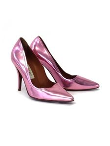 Lanvin - Pink Metallic Leather Pointed Toe Pumps Sz 6