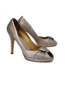 Valentino- Pewter Metallic Peep Toe Pumps w/ Knot Detail Sz 9.5