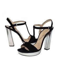 Prada - Black Suede & Silver Pumps Sz Size 11