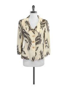 Armani Collezioni- Brown Linen Blend Embroidered Jacket Sz 4