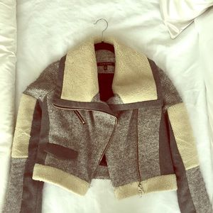 Cynthia Steffe jacket tweed with silver zippers