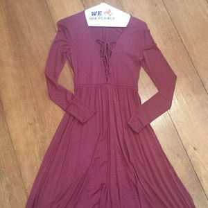 Ecote Dresses & Skirts - Urban outfitters Ecote burgundy maxi lace up dress
