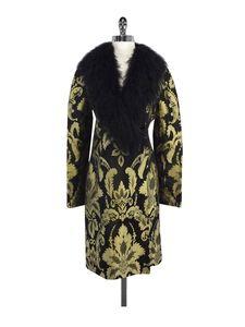 Valentino Boutique- Black & Gold Faux Collar Coat Sz S
