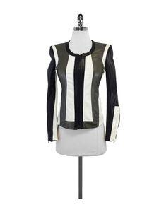 Helmut Lang- Pax Color Block Leather & Cotton Jacket Sz S
