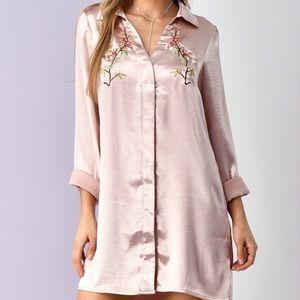 Jaded Affairs Dresses & Skirts - Ava Embroidered Satin Shirt Dress