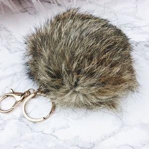 Urban Luxe Design Co. Handbags - Tan faux fur keychain puff
