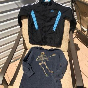 Bundle lot boys 6 Adidas track jacket lacrosse tee