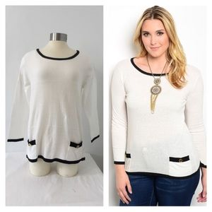 Sweaters - NIP plus size white knit top with black trim