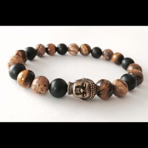 Men's Multi-Gemstone Buddha Bracelet, Yoga, Mala