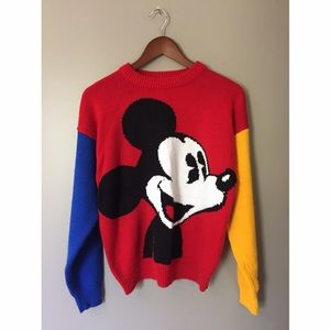 •Vintage• Color Block Disney Mickey Mouse Sweater