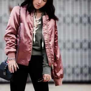 TOPSHOP Bomber Satin Jacket with Gold Zipper