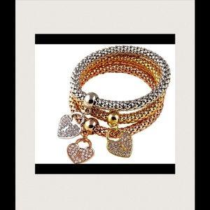 18K Plated Heart Charm Bracelets