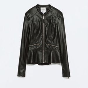 NWT Zara Vegan Leather Peplum Jacket
